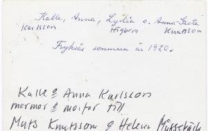 Kalle, Anna, Lydia och Anna-Greta år 1920,  0002