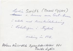 Lydia Smids, omkring år 1918,  0002